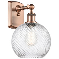 Innovations Lighting 516-1W-AC-G1214-8-LED Twisted Swirl LED 8 inch Antique Copper Sconce Wall Light Ballston