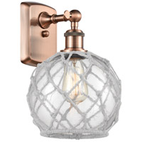 Innovations Lighting 516-1W-AC-G122-8RW-LED Farmhouse Rope LED 8 inch Antique Copper Sconce Wall Light Ballston