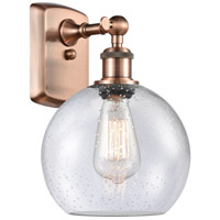 Innovations Lighting 516-1W-AC-G124 Athens 1 Light 8 inch Antique Copper Sconce Wall Light Ballston