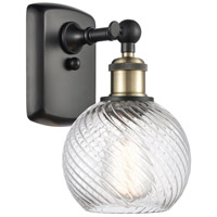 Innovations Lighting 516-1W-BAB-G1214-6 Small Twisted Swirl 1 Light 6 inch Black Antique Brass Sconce Wall Light Ballston