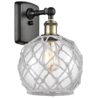 Innovations Lighting 516-1W-BAB-G122-8RW-LED Farmhouse Rope LED 8 inch Black Antique Brass Sconce Wall Light Ballston