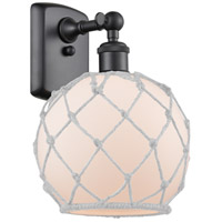 Innovations Lighting 516-1W-BK-G121-8RW Farmhouse Rope 1 Light 8 inch Matte Black Sconce Wall Light Ballston