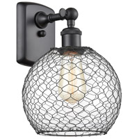 Innovations Lighting 516-1W-BK-G122-8CBK Farmhouse Chicken Wire 1 Light 8 inch Matte Black Sconce Wall Light Ballston