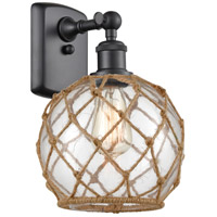 Innovations Lighting 516-1W-BK-G122-8RB Farmhouse Rope 1 Light 8 inch Matte Black Sconce Wall Light Ballston