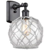 Innovations Lighting 516-1W-BK-G122-8RW Farmhouse Rope 1 Light 8 inch Matte Black Sconce Wall Light Ballston