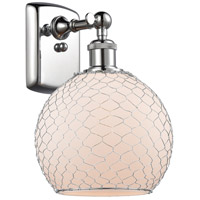 Innovations Lighting 516-1W-PC-G121-8CSN Farmhouse Chicken Wire 1 Light 8 inch Polished Chrome Sconce Wall Light Ballston