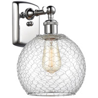 Innovations Lighting 516-1W-PC-G122-8CSN-LED Farmhouse Chicken Wire LED 8 inch Polished Chrome Sconce Wall Light Ballston