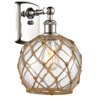 Innovations Lighting 516-1W-PN-G122-8RB-LED Farmhouse Rope LED 8 inch Polished Nickel Sconce Wall Light Ballston