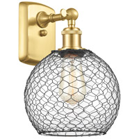 Innovations Lighting 516-1W-SG-G122-8CBK-LED Farmhouse Chicken Wire LED 8 inch Satin Gold Sconce Wall Light Ballston