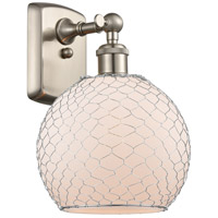 Innovations Lighting 516-1W-SN-G121-8CSN-LED Farmhouse Chicken Wire LED 8 inch Brushed Satin Nickel Sconce Wall Light Ballston