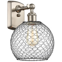 Innovations Lighting 516-1W-SN-G122-8CBK Farmhouse Chicken Wire 1 Light 8 inch Brushed Satin Nickel Sconce Wall Light Ballston