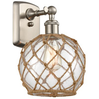 Innovations Lighting 516-1W-SN-G122-8RB-LED Farmhouse Rope LED 8 inch Brushed Satin Nickel Sconce Wall Light Ballston