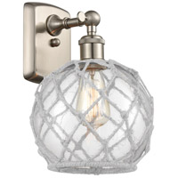 Innovations Lighting 516-1W-SN-G122-8RW Farmhouse Rope 1 Light 8 inch Brushed Satin Nickel Sconce Wall Light Ballston