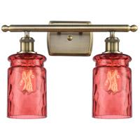 Innovations Lighting 516-2W-AB-G352-RD Candor 2 Light 16 inch Antique Brass Bath Vanity Light Wall Light, Ballston