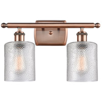 Innovations Lighting 516-2W-AC-G112-LED Cobbleskill LED 16 inch Antique Copper Bath Vanity Light Wall Light Ballston