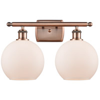 Innovations Lighting 516-2W-AC-G121 Athens 2 Light 16 inch Antique Copper Bath Vanity Light Wall Light Ballston