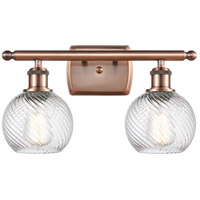 Innovations Lighting 516-2W-AC-G1214-6-LED Small Twisted Swirl LED 16 inch Antique Copper Bath Vanity Light Wall Light Ballston