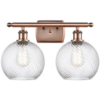 Innovations Lighting 516-2W-AC-G1214-8-LED Twisted Swirl LED 16 inch Antique Copper Bath Vanity Light Wall Light Ballston