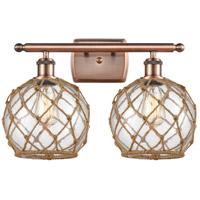 Innovations Lighting 516-2W-AC-G122-8RB-LED Farmhouse Rope LED 16 inch Antique Copper Bath Vanity Light Wall Light Ballston