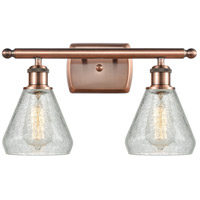 Innovations Lighting 516-2W-AC-G275-LED Conesus LED 16 inch Antique Copper Bath Vanity Light Wall Light Ballston