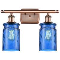 Innovations Lighting 516-2W-AC-G352-BL Candor 2 Light 16 inch Antique Copper Bath Vanity Light Wall Light, Ballston