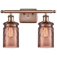 Innovations Lighting 516-2W-AC-G352-TOF Candor 2 Light 16 inch Antique Copper Bath Vanity Light Wall Light, Ballston