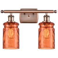 Innovations Lighting 516-2W-AC-G352-TUR Candor 2 Light 16 inch Antique Copper Bath Vanity Light Wall Light Ballston