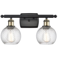 Innovations Lighting 516-2W-BAB-G1214-6-LED Small Twisted Swirl LED 16 inch Black Antique Brass Bath Vanity Light Wall Light, Ballston