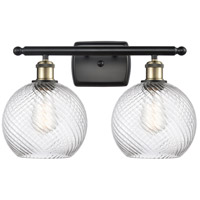 Innovations Lighting 516-2W-BAB-G1214-8-LED Twisted Swirl LED 16 inch Black Antique Brass Bath Vanity Light Wall Light Ballston