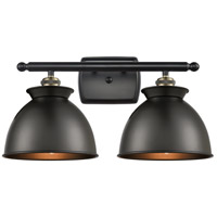 Innovations Lighting 516-2W-BAB-M14-BK Adirondack 2 Light 18 inch Black Antique Brass Bath Vanity Light Wall Light Ballston