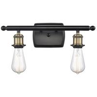 Innovations Lighting 516-2W-BAB Bare Bulb 2 Light 16 inch Black Antique Brass Bath Vanity Light Wall Light Ballston
