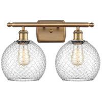 Innovations Lighting 516-2W-BB-G122-8CSN-LED Farmhouse Chicken Wire LED 16 inch Brushed Brass Bath Vanity Light Wall Light, Ballston