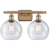 Innovations Lighting 516-2W-BB-G124 Athens 2 Light 16 inch Brushed Brass Bath Vanity Light Wall Light Ballston
