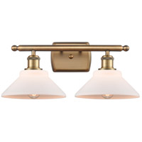 Innovations Lighting 516-2W-BB-G131-LED Orwell LED 18 inch Brushed Brass Bath Vanity Light Wall Light, Ballston
