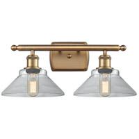 Innovations Lighting 516-2W-BB-G132-LED Orwell LED 18 inch Brushed Brass Bath Vanity Light Wall Light, Ballston