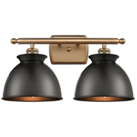 Innovations Lighting 516-2W-BB-M14-BK Adirondack 2 Light 18 inch Brushed Brass Bath Vanity Light Wall Light Ballston