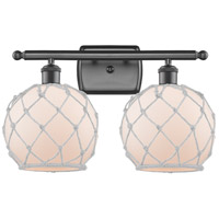 Innovations Lighting 516-2W-OB-G121-8RW Farmhouse Rope 2 Light 16 inch Oil Rubbed Bronze Bath Vanity Light Wall Light Ballston