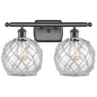 Innovations Lighting 516-2W-OB-G122-8RW-LED Farmhouse Rope LED 16 inch Oil Rubbed Bronze Bath Vanity Light Wall Light Ballston