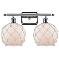 Innovations Lighting 516-2W-PC-G121-8RW Farmhouse Rope 2 Light 16 inch Polished Chrome Bath Vanity Light Wall Light Ballston