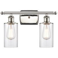 Innovations Lighting 516-2W-PN-G802 Clymer 2 Light 16 inch Polished Nickel Bath Vanity Light Wall Light Ballston