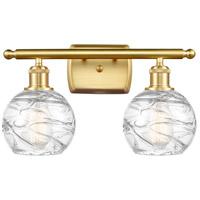 Innovations Lighting 516-2W-SG-G1213-6-LED Small Deco Swirl LED 16 inch Satin Gold Bath Vanity Light Wall Light Ballston