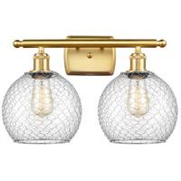 Innovations Lighting 516-2W-SG-G122-8CSN-LED Farmhouse Chicken Wire LED 16 inch Satin Gold Bath Vanity Light Wall Light Ballston