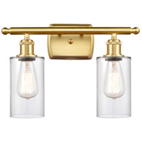 Innovations Lighting 516-2W-SG-G802 Clymer 2 Light 16 inch Satin Gold Bath Vanity Light Wall Light Ballston