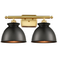 Innovations Lighting 516-2W-SG-M14-BK Adirondack 2 Light 18 inch Satin Gold Bath Vanity Light Wall Light Ballston
