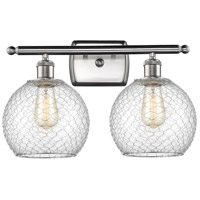 Innovations Lighting 516-2W-SN-G122-8CSN-LED Farmhouse Chicken Wire LED 16 inch Satin Nickel Bath Vanity Light Wall Light Ballston
