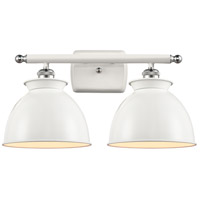 Innovations Lighting 516-2W-WPC-M14-W Adirondack 2 Light 18 inch White And Polished Chrome Bath Vanity Light Wall Light Ballston