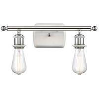 Innovations Lighting 516-2W-WPC-LED Bare Bulb LED 16 inch White And Polished Chrome Bath Vanity Light Wall Light Ballston