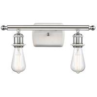 Innovations Lighting 516-2W-WPC Bare Bulb 2 Light 16 inch White And Polished Chrome Bath Vanity Light Wall Light Ballston