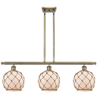 Innovations Lighting 516-3I-AB-G121-8RB Farmhouse Rope 3 Light 36 inch Antique Brass Island Light Ceiling Light Ballston