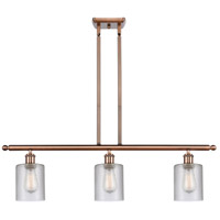 Innovations Lighting 516-3I-AC-G112-LED Cobbleskill LED 36 inch Antique Copper Island Light Ceiling Light Ballston